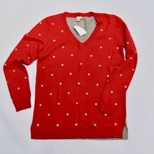 J. Crew Sweaters - J. Crew Res Gray Gold V-Neck Polka Dot Sweater S